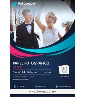 Papel Fotográfico Glossy A4 de 200g - 20, 50 y 100 unid.