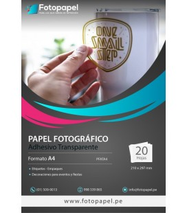 Papel Fotográfico Adhesivo Transparente A4