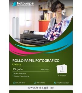 Rollo de Papel Fotográfico Glossy de 230g, 91cm x 30m
